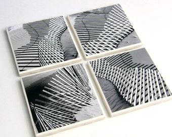 Beach Decor, Black and White, Coaster Set, Ceramic Tile, Set of 4, Shadows and Sand, Dune Fence
