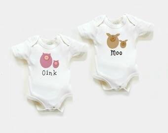 Organic Twin Bodysuits,  Boy Girl Twins, Twins Gift, Twins Newborn