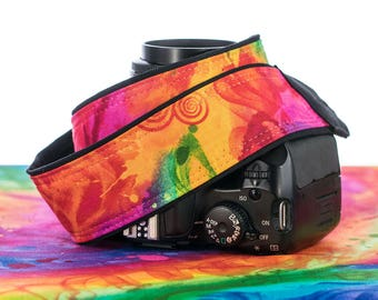 dSLR  Rainbow Camera Strap, Pocket, Canon camera strap, Nikon camera strap, Photographer Gift, Camera, SLR, 286