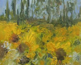 """Ready to Hang, Abstract Wall Art, Flower Painting, Flower Art, Garden Art, Miniature Art """"Sunflower Field"""" by AndolsekArt"""