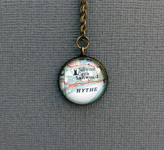 Custom Jewelry, Personalized Pendant using Vintage Maps