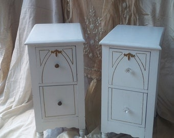 Nightstands / Vintage Cottage / White Shabby Chic Gothic / Bedside Tables PAIR Poppy Cottage Painted Furniture