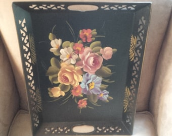 Vintage Toleware Metal Tray, Hand Painted MCM Poppy Cottage Vintage Treasures Shabby French Tole