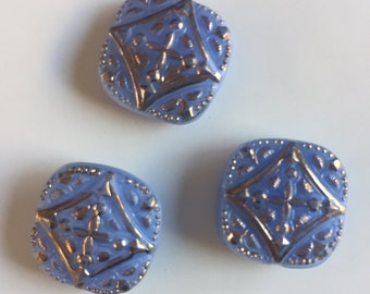 Vintage Glass Buttons - Blue with Gold Metallic - 3 buttons