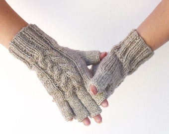 Wool fingerless gloves knit gloves multitone oatmeal natural material gift for her womens gloves warm mittens winter holidays