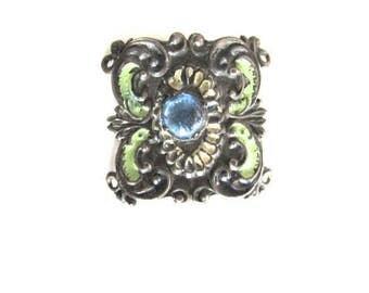 Enamel Cabochon Finding Stamping Vintage 1930 Czech Vauxhall Bracelet Piece Blue Glass Jewelry Supply