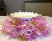 Pink and Gold Deco Mesh Cake Stand Skirt , Birthday Party Centerpiece for Cake , Cake Stand Skirt
