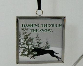 Greyhound Dashing Through The Snow Ornament