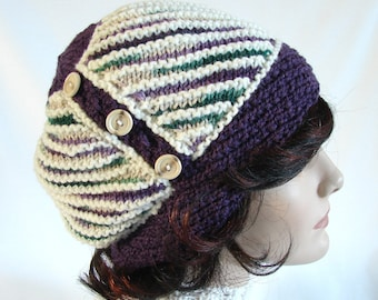 Woman's Knit Hat Dark Plum and Off-White Hat Diagonal Striped Knit Hat Dark Purple Hat Warm Women's Knit Hat Winter Accessory Striped Hat