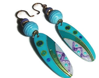 Painted Metal Dangle Earrings Statement Earrings Bright Colors on Metal Lampwork and Ceramic