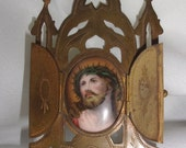 Vintage Jesus shrine alter triptych style metal engraved religious item