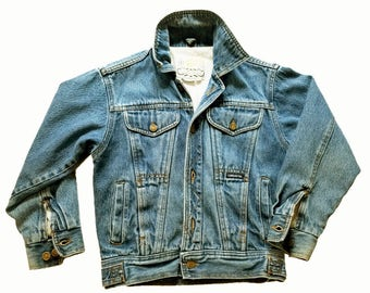 80s Vintage Denim Jacket Womens London Fog Jacket Tiny Shrunken Fit Jean Jacket Cropped Faded Denim Jacket Vintage Denim Jacket XXS