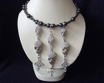 Rhinestone Skull And Cross Hand Beaded Memory Wire Magnetic Hematite Choker Necklace