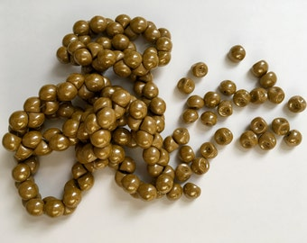 Golden Mustard Color 9x8mm Mushroom Beads, Mushroom Button Beads, 30 Beads Per Strand