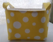 Fabric Organizer Storage Basket Bin Container - Yellow with Large White Polka Dots