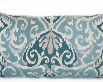 Decorative pillow cover - Winchester Print - Ikat - Spa - Blue - Tribal - Decor pillow case - Cushion Cover