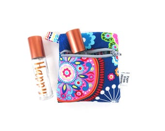 Mini Essential Oil Bag - Tribeca - roller bottle case travel case essential oil storage IEM case, earbud holder, rollerball