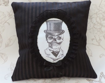 Mister skull, gothic victorian pillow, cameo pillow,  cushion,  black stripes,  macabre, halloween,steampunk,  home decor