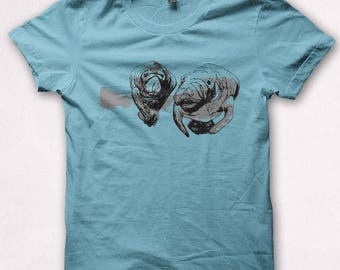 Mens Tshirt Manatee Shirt Screenprint Manatees Graphic Tee for Men - Teal