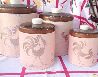 SPRING SALE Pink Ransburg vintage metal 4 kitchen canister set with rooster design.  Vintage kitchen canisters. Vintage canisters.