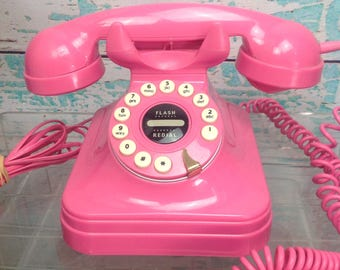 Vtg Vintage 1980s 80s Hot Pink Touch Tone Push Button Phone Telephone Retro Style. Polyconcept, USA VGUC