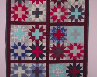 HANDMADE QUILT by PAULETTE -  Eco friendly upcycled fabric