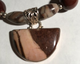 Shiva Lingam and Brown  Ceramic Bead Necklace with pendant.
