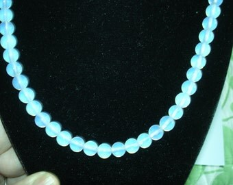 """Blue Glass Necklace Silver  Tone """""""