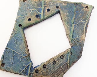 Pottery for Weaving Window rectangular loom style, Roots, Branches, Blue Green