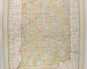 Large Indiana Map 1897 Vintage Map of Indiana State, IN Map, Indiana Gift for Parents, Genealogy Research, Antique Indiana Map New Home Gift