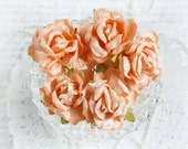 Shabby Chic Large Mulberry Roses Peach Set of 5 for Scrapbooking, Cardmaking, Altered Art, Wedding, Mini Album