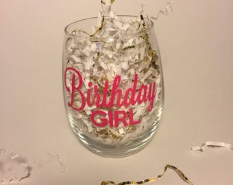 Birthday Girl Stemless Wine Glass | Add name  | Gift | Celebration | Gift for her | Party | Custom | Personalized | Wine | Vino