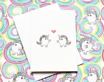 Rainbow Unicorn Love – A6 valentines, anniversary, wedding or engagement greeting card