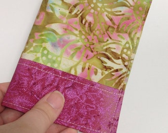 Passport Cover in Jewel Tone Floral Batik Print