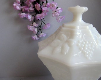 Vintage milk glass grape dish with lid Milk glass candy dish