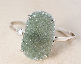CHRISTMAS SALE Natural Green Druzy Bangle – Rainbow Moonstone – Sterling Silver