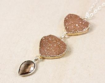 50% OFF Silver Brown Druzy & Smokey Quartz Necklace - Long Druzy Necklace