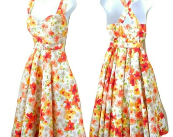 Swing Dress - Sundress - Retro Inspired - Floral - Orange - Yellow - Green - White - Sexy - Size Large - All Cotton - Roses - Lillies