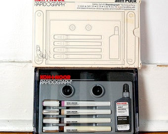 Vintage Set of Koh I Noor Rapidograph Drafting Technical Drawing Pens Set of 4 with Original Packaging 1980s Art Supply Tool.