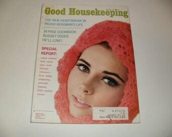 Vintage Good Housekeeping Magazine January 1967 - Ingrid Bergman Article, Hair styles, Fashion, Art, Scrapbooking, Retro Vintage Ads