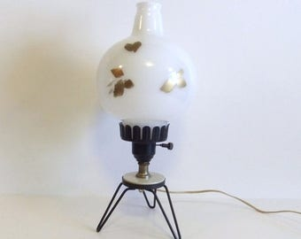 50% off Sale ON SALE Vintage Lamp, Retro lighting, Desk Lamp, Milk Glass globe