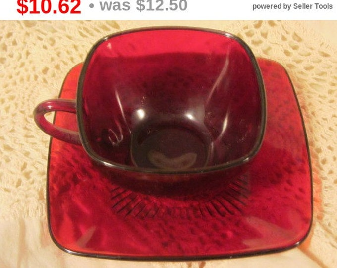 Vintage Mid Century Anchor Hocking Ruby Red Square Shaped Cup and Saucer, Red Cup and Saucer, Square Cup and Saucer, Ruby Red Serving Set