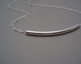 Sterling silver tube bar Necklace...Jewelry for simple everyday, layering, Delicate minimal necklace, wedding, bridesmaid gift