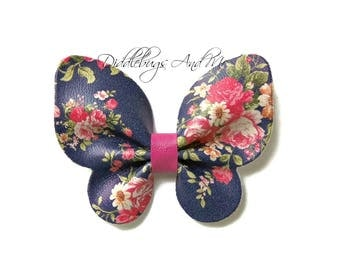 Navy Butterfly Hair Clip, Leather Floral Butterfly Clip, Girls Butterfly Hair Clip, Flower Girl Clip, Butterfly Hair Clip, Navy And Pink