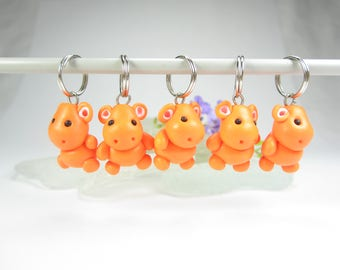 Hippo Stitch Markers hippopotamus animal polymer clay charm knitting accessories hippo gifts for knitters for her womens gifts orange