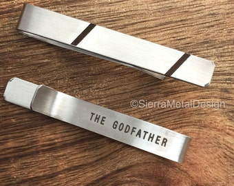 Godfather Gift The Godfather Tie Clip Godfather Tie Bar Stainless Steel Tie Clip Godparent Gift for Uncle Communion Baptism Confirmation