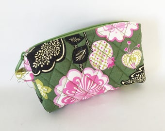 Small Cosmetic Quilted  Vinyl Lined Zipper Designer Fabric Pinks Green Mod Floral