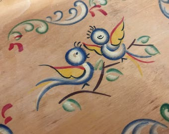 Vintage Folk Art Blue Birds Tole-Ware Painted Wooden Tray