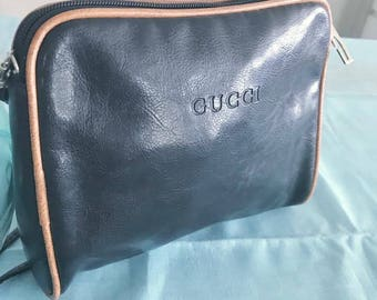 Vintage 80's Gucci Black Small Shoulder Bag -- Retro