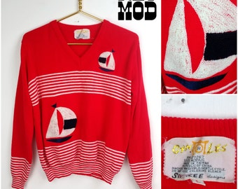 Cool Vintage 60s Mod Kitsch Nautical Red, White & Blue Sailboat Cyntotles Sweater!
